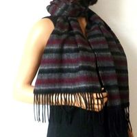 Beige and bordeaux cashmere and wool scarf