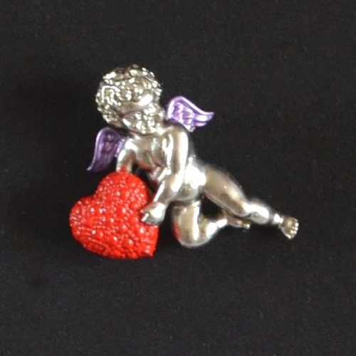 Red heart and silver angel brooch