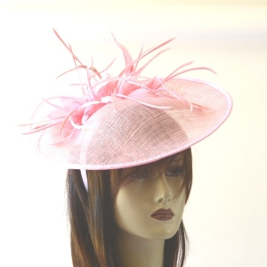 Satin headband with hat and feathers - 2 colours