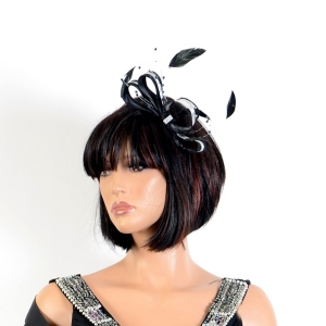 Sinamay, satin and feathers headband