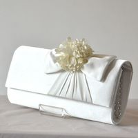 Red or light grey evening bag satin