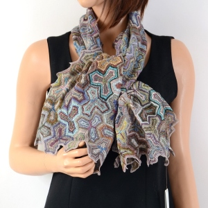 """Sophie Digard big scarf - 100 % linen - pattern """"puzzle"""""""