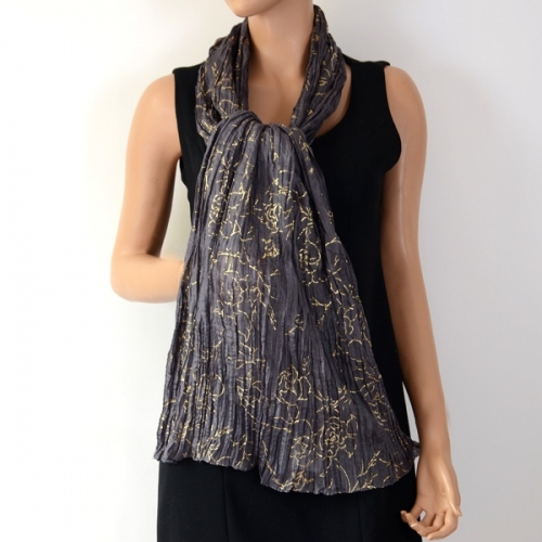 Pure silk stole dark grey and gold