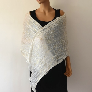 Ivory and gold pleated stole - 100 % silk