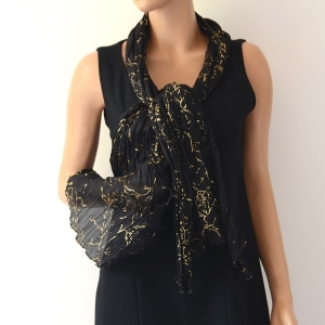 Black and gold silk evening stole