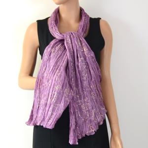 Lilac and gold silk stole