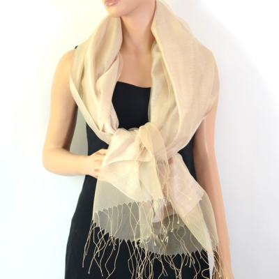 Silk organza and viscose wedding stole - 10 colours