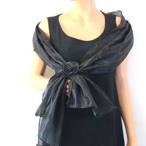 Black wedding stole silk and polyester