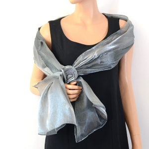 Brilliant dark grey wedding/evening stole