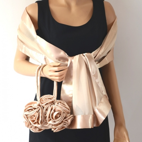 Matching champagne stole and aumoniere for evenings or weddings