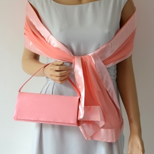 Matching light coral evening bag and stole