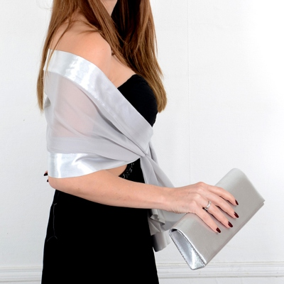 Matching wedding stole and clutch - 24 colours! Silver grey and baby pink clutches come pleated