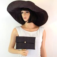 Matching giant sun/wedding hat with clutch : Chocolate brown