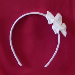 Gros grain white headband for girls