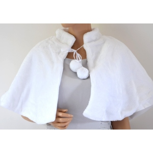 "Wedding cape for grils ""etty"" white fake fur"