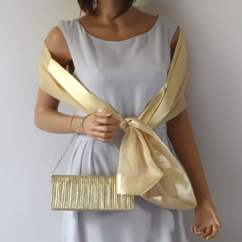 Matching wedding bag and stole - light gold