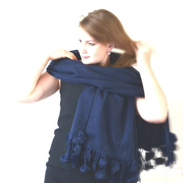 Large woolen and cashmere shawl with rabbit pompoms - dark brown or light pink or navy