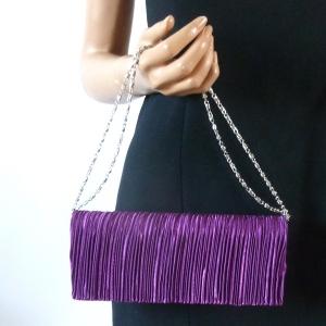 Evening bag - purple pleated satin