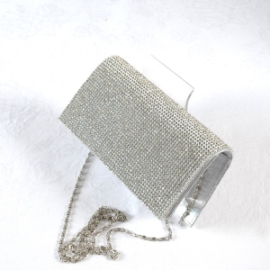 """Evening bag """"Adriana"""" - satin with rhinestones all over - black or gold - silver out of stock"""