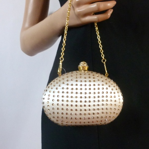 Small clutch with satin and rhinestones
