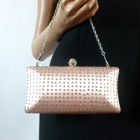 Evening clutch dust pink with rhinestones