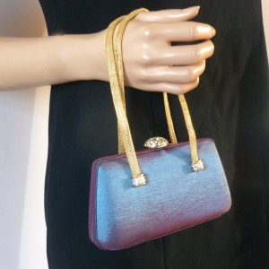 Adorable shantung clutch purple, blue or bordeaux