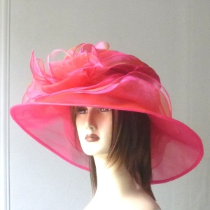 Wedding or special event hat polyester fushia