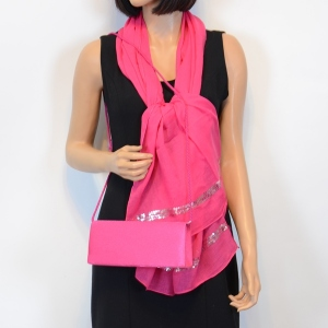 Matching duo sequined stole and satin bag