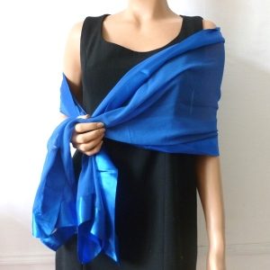 Royal blue stole/shawl silk and satin - PARTNER LOOK
