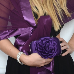 Matching duo wedding shawl and evening bag : 4 colours : champagne/beige, royal blue, black or red
