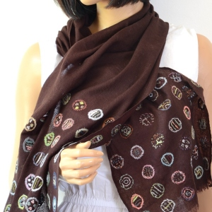 """Large brown scarf Sophie Digard """"NEURO"""" - hand embroidered"""