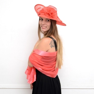 Matching hat and stole - coral pink