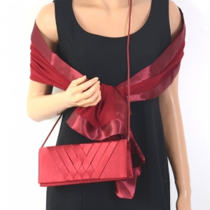 Matching wedding accessories : bag and stole purple or bordeaux