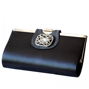 Beautiful black evening clutch with rhinestone
