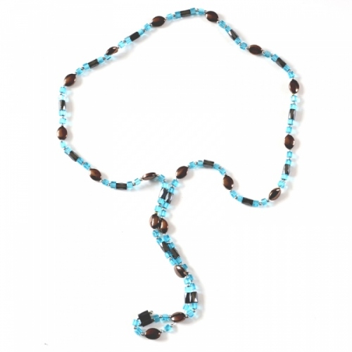 Necklace with magnet beads - turquoise and chocolate