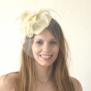 Pretty veil bibi hat on headband : 6 colours