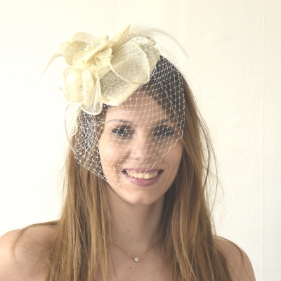 Pretty veil bibi hat on headband : 3 colours