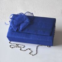 Sinamay wedding bag with sinamay flower - Klein blue/royal blue