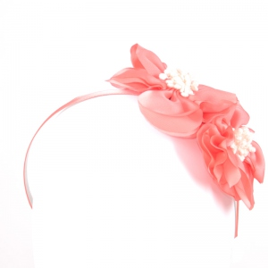 Coral wedding headband