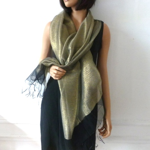 Stole/shawl/wrap Phanie black and gold metallic threads