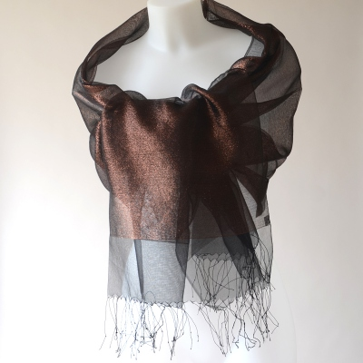 Stole/shawl/wrap Phanie black and copper metallic threads