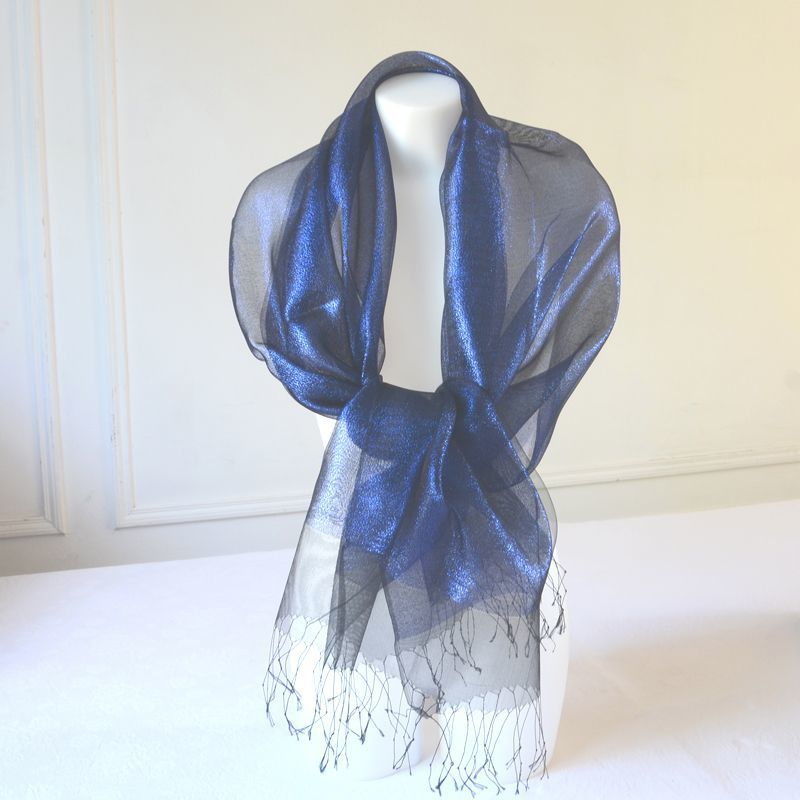 Stole/shawl/wrap Phanie royal blue and black metallic threads