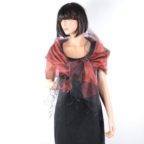 Stole/shawl/wrap Phanie black and red metallic threads