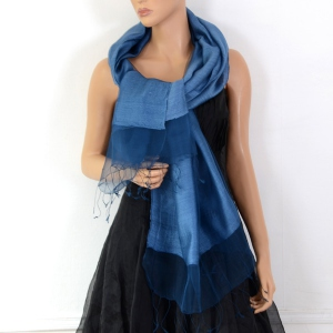 Blue silk organza and viscose wedding stole