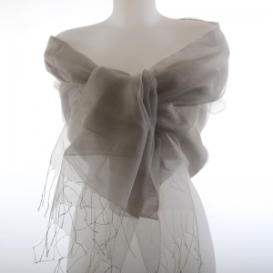 Grey silk organza and viscose wedding stole