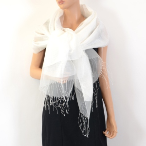 Ivory/beige silk organza and viscose wedding stole