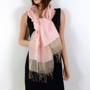 Light pink silk organza and viscose wedding stole