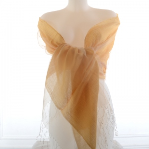 Safran yellow silk organza and viscose wedding stole