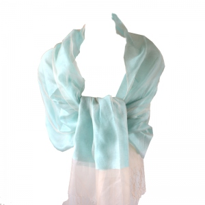 Light turquoise blue/green silk organza and viscose wedding stole