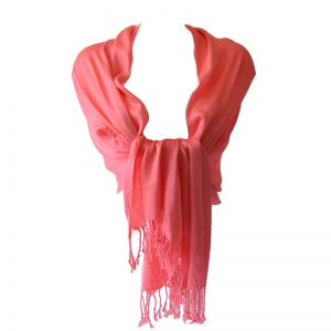 Large coral shawl silk and viscose